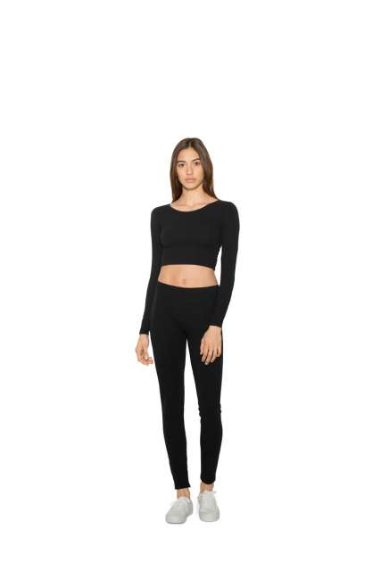 WOMEN'S COTTON SPANDEX LONG SLEEVE CROP TOP
