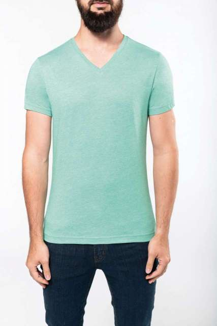 MEN'S V-NECK SHORT-SLEEVED MELANGE T-SHIRT