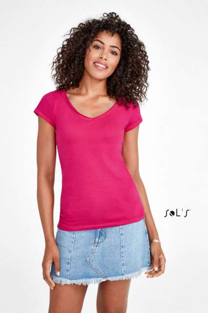 MILD WOMEN'S V-NECK ROLLED AND RAW-CUT FINISHED T-SHIRT