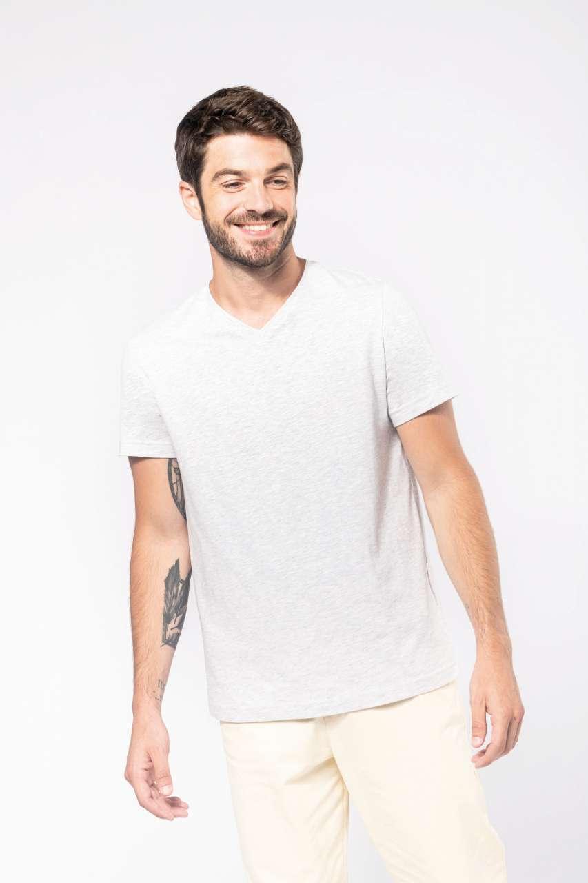 Kariban V-Neck Short Sleeve Melange T-Shirt
