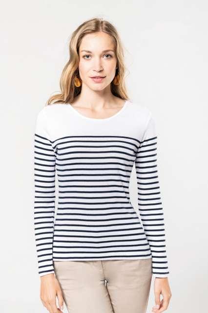 ladies' long-sleeved breton stripe top 1.