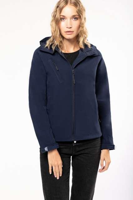 ladies' detachable hooded softshell jacket 1.