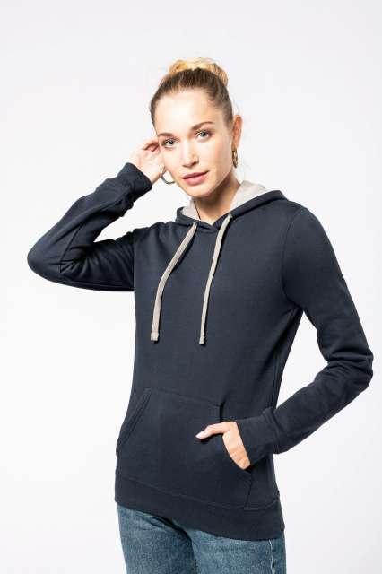 ladies' contrast hooded sweatshirt 1.