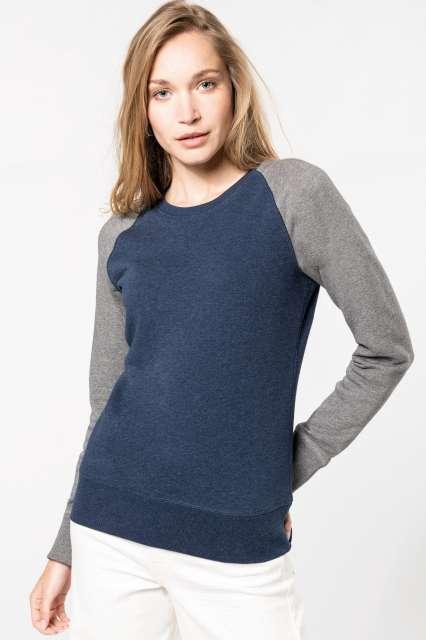 ladies' two-tone organic crew neck raglan sleeve sweatshirt 1.