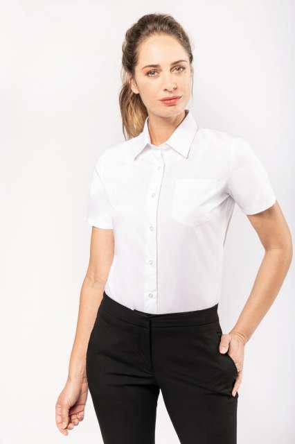 ladies' short-sleeved cotton poplin shirt 1.