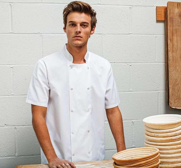 chef's short sleeve stud jacket 1.